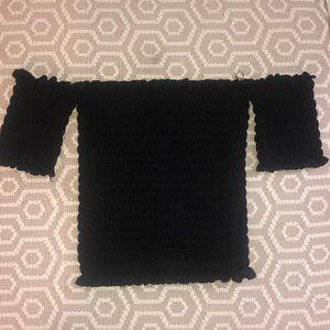 LF Black smocked tube top